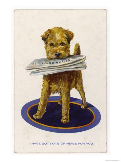 "Well Behaved Dog Brings a Copy of the ""Daily Howl"" Filled with Lots of News--Giclee Print"