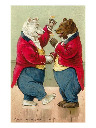Well Dressed Bears Toasting--Art Print