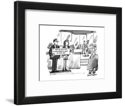 Well-dressed couple hold a sign and ask for money out side an office build? - New Yorker Cartoon-Dana Fradon-Framed Premium Giclee Print