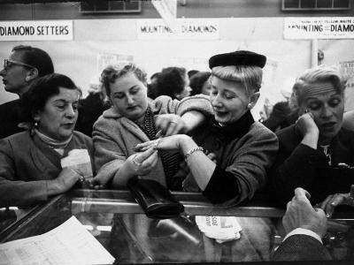 Well Dressed Women, All Mobbing Diamond Counters During Monster Diamond Sale at S. Klein's Store-Peter Stackpole-Photographic Print