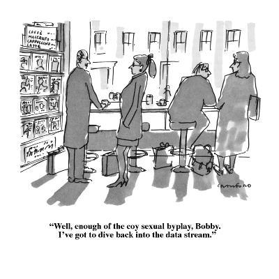 """""""Well, enough of the coy sexual byplay Bobby.  I've got to dive back into ?"""" - New Yorker Cartoon-Michael Crawford-Premium Giclee Print"""
