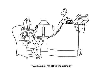 """""""Well, okay.  I'm off to the games."""" - Cartoon-Ted Goff-Premium Giclee Print"""