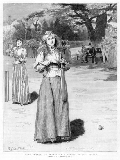 Well Played! - a Sketch at a Ladies' Cricket Match, 1890-Edward Frederick Brewtnall-Giclee Print