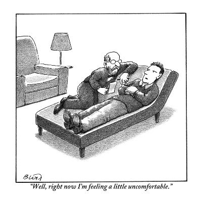 """""""Well, right now I'm feeling a little uncomfortable."""" - New Yorker Cartoon-Harry Bliss-Premium Giclee Print"""