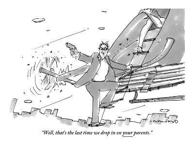 """Well, that's the last time we drop in on your parents."" - New Yorker Cartoon-Michael Crawford-Premium Giclee Print"