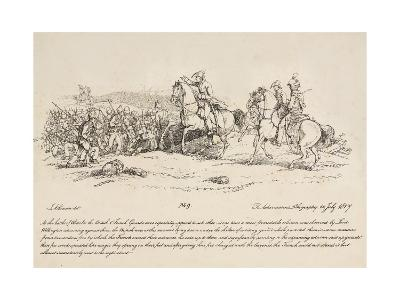 Wellington Directing a Charge of the Guards Against a Column of French at Waterloo-John Augustus Atkinson-Giclee Print