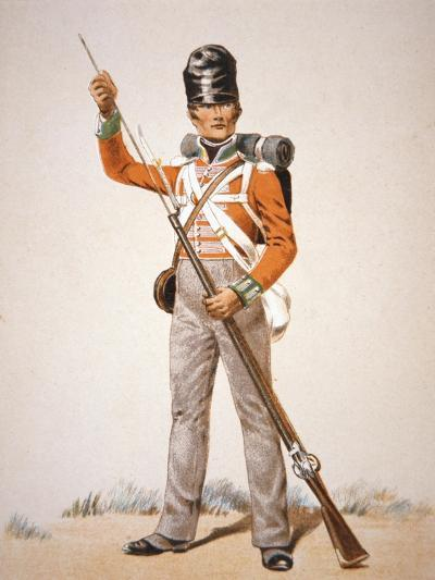 Wellington's Army: Soldier of the 69th Foot Loading His 'Brown Bess' Musket in 1815 (Colour Litho)-English-Giclee Print