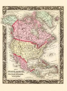 Political Divisions map of North America-British America-Russian Americ -Danish America by Wellington Williams