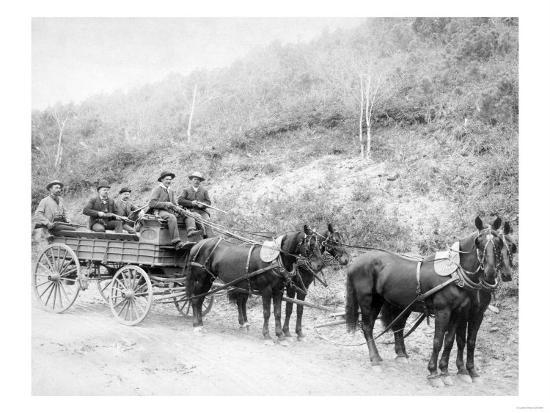 Wells Fargo Express Company Wagon and Guards Carrying Gold from Mine Photograph - Deadwood, SD-Lantern Press-Art Print
