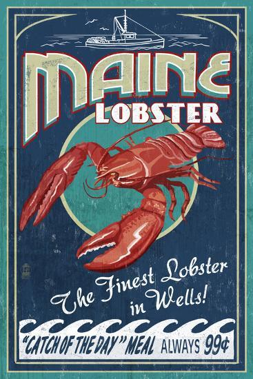 Wells, Maine - Lobster Boat - Vintage Sign-Lantern Press-Wall Mural