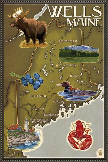 Wells, Maine - Map and Icons-Lantern Press-Wall Mural