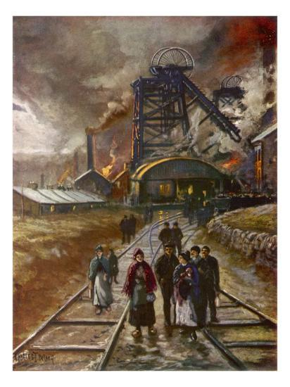Welsh Men and Women Mineworkers Coming to Work in the Early Morning--Giclee Print