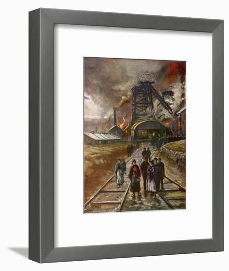 Welsh Men and Women Mineworkers Coming to Work in the Early Morning--Framed Giclee Print