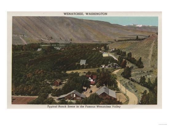 Wenatchee, WA - Bird's Eye of Ranch in the Valley-Lantern Press-Art Print