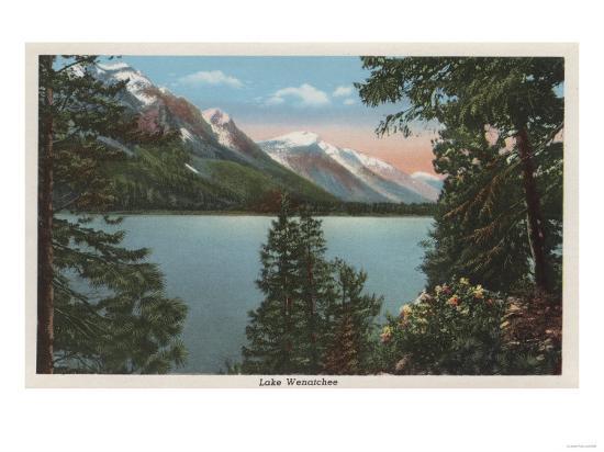 Wenatchee, WA - View of Lake Wenatchee-Lantern Press-Art Print