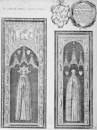 Brasses of John Newcourt and Brome Whorewood in Old St Paul's Cathedral, City of London, 1656