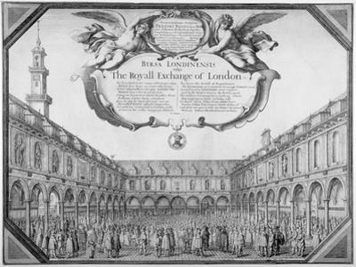 Interior View of the Royal Exchange Filled with Figures, City of London, 1644