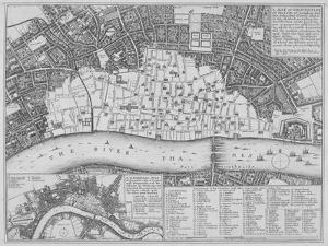 Map Showing the Extent of the Damage Caused by the Great Fire of London, 1666 by Wenceslaus Hollar