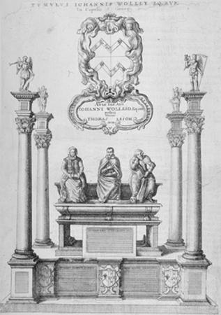 Monument of Sir John Woolley in Old St Paul's Cathedral, City of London, 1656