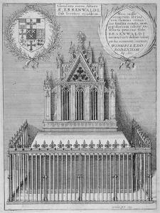 Monument to Saint Erkenwald in Old St Paul's Cathedral, City of London, 1656 by Wenceslaus Hollar