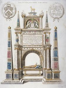 Monument to Sir Christopher Hatton in Old St Paul's Cathedral, City of London, 1656 by Wenceslaus Hollar