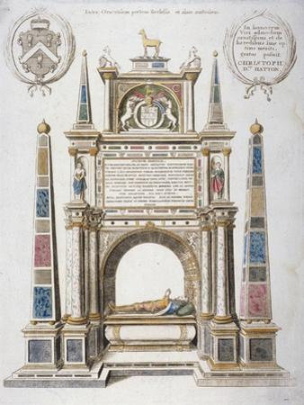 Monument to Sir Christopher Hatton in Old St Paul's Cathedral, City of London, 1656