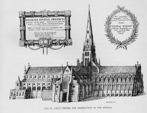 Old St Paul's Cathedral before the destruction of the steeple, 1657 (1904) by Wenceslaus Hollar