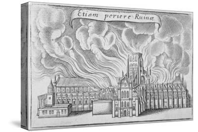 Old St Paul's Cathedral Burning in the Great Fire of London, 1666