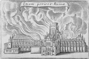 Old St Paul's Cathedral Burning in the Great Fire of London, 1666 by Wenceslaus Hollar