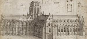 Old St Paul's Cathedral from the North-East (Pen and Brown Ink and Grey Wash over Graphite by Wenceslaus Hollar