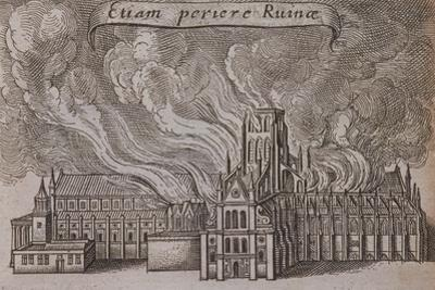St Paul's Cathedral, London, on Fire, 1666