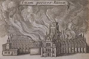 St Paul's Cathedral, London, on Fire, 1666 by Wenceslaus Hollar