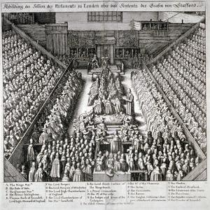 The Trial of Thomas Wentworth, Earl of Strafford, Westminster Hall, London, 1641 by Wenceslaus Hollar