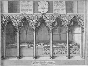 Tombs of Two Bishops of London in Old St Paul's Cathedral, City of London, 1656 by Wenceslaus Hollar