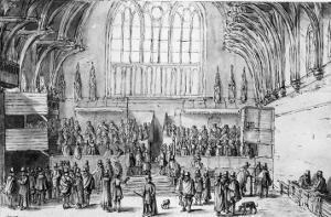 Westminster Hall, West End, with the Courts of Chancery and Kings in Session by Wenceslaus Hollar