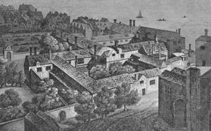'Winchester House, Southwark, about 1649, from the tower of St. Saviour's', c1812, by Wenceslaus Hollar