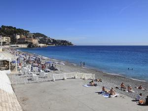 Beach, Nice, Alpes Maritimes, Cote D'Azur, French Riviera, Provence, France, Europe by Wendy Connett