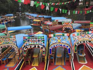 Brightly Painted Boats, Xochimilco, Trajinera, Floating Gardens, Canals, UNESCO World Heritage Site by Wendy Connett