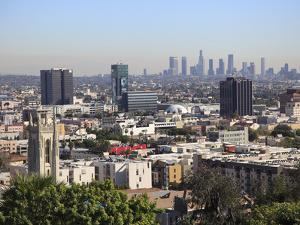 Hollywood and Downtown Skyline, Los Angeles, California, United States of America, North America by Wendy Connett