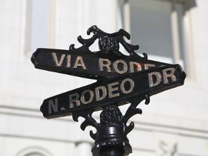 Street Sign, Rodeo Drive, Beverly Hills, Los Angeles, California, Usa by Wendy Connett