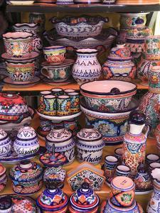 Talavera Pottery, El Parian Market, Puebla, Historic Center, Puebla State, Mexico, North America by Wendy Connett