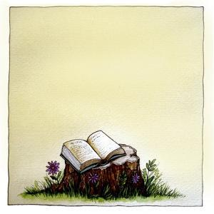 A Stump with Flowers Surrounding it with an Open Book on Top by Wendy Edelson