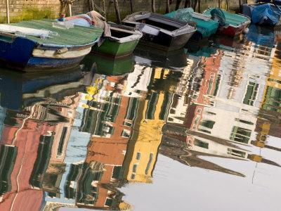 Row of Boats and Colorful Houses, Burano, Venice, Italy