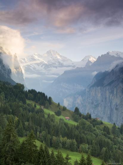 Wengen and Lauterbrunnen Valley, Berner Oberland, Switzerland-Doug Pearson-Photographic Print