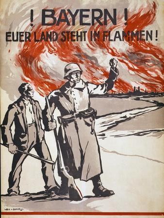 Bayern! Euerer Land Steht in Flammen! Pub. Germany, C.1918