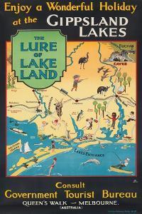 Werbeplakat des australischen Fremdenverkehrsbüros für die Gippsland-Seen