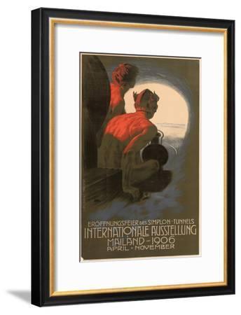 Werbeplakat für die Weltausstellung in Mailand 1906 anlässlich der Eröffnung des Simplontunnels--Framed Giclee Print