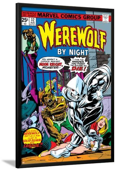 Werewolf By Night No.32 Cover: Moon Knight and Werewolf By Night-Don Perlin-Lamina Framed Poster
