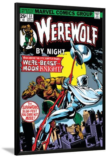 Werewolf By Night No.33 Cover: Moon Knight and Werewolf By Night-Don Perlin-Lamina Framed Poster