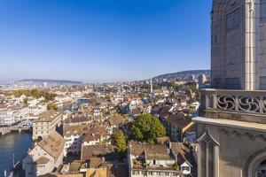 Switzerland, Canton Zurich, Zurich, City Centre, River Limmat, Steeple Great Cathedral by Werner Dieterich